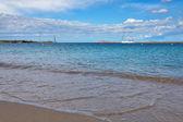 Yacht off Liscia Ruja Beach Sardinia on May 22, 2015 — Stock Photo