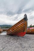 Rowing Boats Beached at Bowness on Windermere in the Lake Distri — Stock Photo