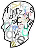 Head full of letters — Stock Vector