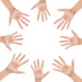 Circle made of hands isolated — Stock Photo