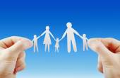 Paper family in hands isolated — Stock Photo