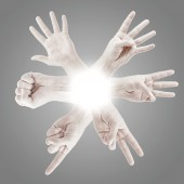 Counting man hands — Stock Photo