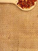 Spices on burlap — Stock Photo