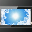 Tablet pc with sky background — Stock Photo #55450879