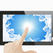 Tablet pc with sky background on screen — Stock Photo #55451095