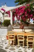 Restauracja pod kwitnącymi drzewami ulicy chora Mykonos — Zdjęcie stockowe
