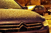 Hoarfrost on a car — Stock Photo