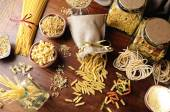 Composition with various types of pasta top view and overview — Stock Photo