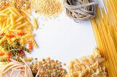 Framework of uncooked pasta isolated — Stock Photo