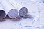 Architectural plans of a dwelling — Stock Photo