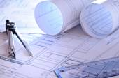 Architectural plans of a dwelling close up — Stock Photo