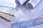 Architectural plans of a dwelling top view — Stock Photo