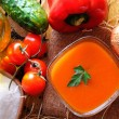 Gazpacho prepared on a wooden table top view — Stock Photo #68294957