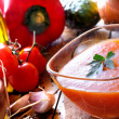 Gazpacho prepared on a wooden table — Stock Photo #68295431