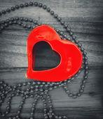 Love hearts on wooden texture — Foto de Stock