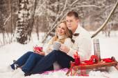 Young happy couple dressed in white sweater — Foto de Stock