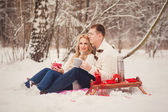 Young loving couple dressed in white sweater — Foto de Stock