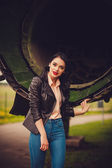 Attractive woman in leather jacket — Stock Photo