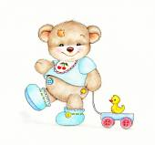 Baby Teddy bear with toy — Stock Photo