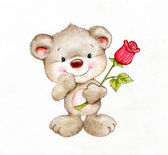 Cute Teddy bear with rose — Stock Photo
