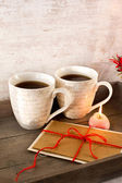 Valentine greeting card with two cups on wooden tray — Stock Photo