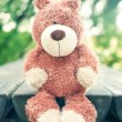 Lonely sad forgotten teddy bear toy. Awaiting for owner. — Stock Photo #64498809