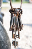 A bunch of old rustic keys. Outdoors. — Stock Photo