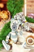 Two handmade provence tilda Teddy bear toys on christmas backgro — Stock Photo