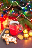 Sheep shape gingerbread with cup of coffee on christmas backgrou — Stock Photo