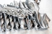 Metal drill bits. Drilling and milling industry. Closeup. — Stock Photo