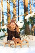 Beautiful cheerful girl sitting on sledges contemplating winter — Stock Photo