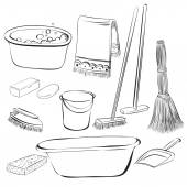 Tools with things for cleaning and wash — Stock Vector