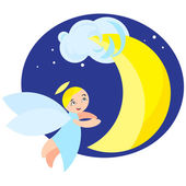 Angel and moon — Stock Vector