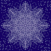 Floral lace snowflake with winter motiv — Stockvector