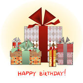 Greeting card with birthday present boxes — Stock Vector