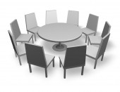 Meeting concept illustration with chairs and round table isolated — Stock Photo