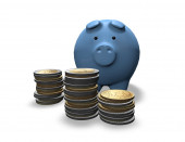 Economies planning concept with piggy and coins — Stock Photo