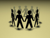 Paper people chain, team standing in circle with shadow — Stock Photo