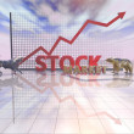 Stock market abstract illustration with sky, bull and bear  — Stock Photo #74924059