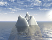 Iceberg 3d illustration background with sea and blue sky abstraction — Stock Photo