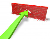 Persistence, challenge concept with green arrow and  wall — Stock Photo