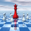 Beautiful 3d abstraction with blue chessboard and chess queen — Stock Photo #75228163