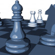 Chess game blue graphic illustration with pawns and chess horse — Stock Photo #75228637
