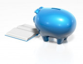 Financial education cocnept with piggy bank — Stock Photo