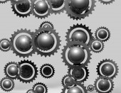 Metal abstract gears grey background — Stock Photo
