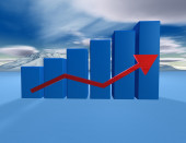 3d dimentional blue graph with cloudscape  — Stock Photo