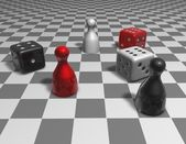 Game 3d abstract concept illustration with checkers — Stock Photo