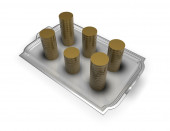 Earning, gaining money concept with coins on the plate isolated — Stock Photo