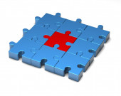 Simple blue and red puzzles illustration isolated — Stock Photo