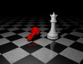 Beautiful dark background with chess pieces in shadow — Stock Photo